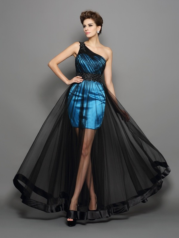 Chicregina Long A-Line/Princess One-Shoulder Elastic Woven Satin Dress with Pleats Ruched