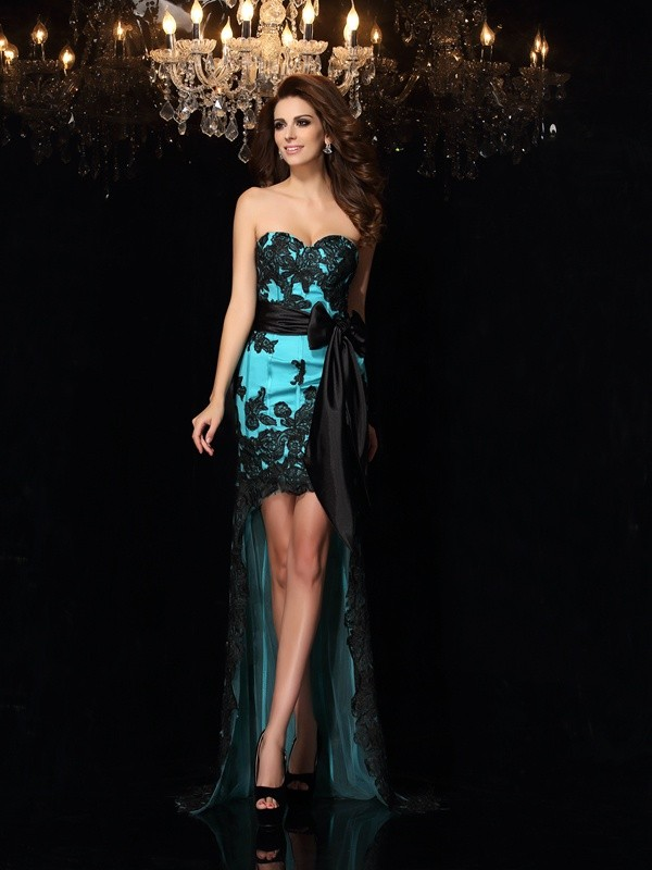 Chicregina Sheath/Column Sweetheart Satin Asymmetrical Dress with Sash Bowknot