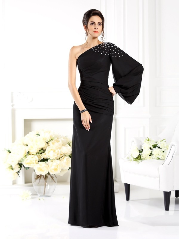 Chicregina Long Sheath/Column One-Shoulder Long Sleeves Beading Chiffon Dress with Lace