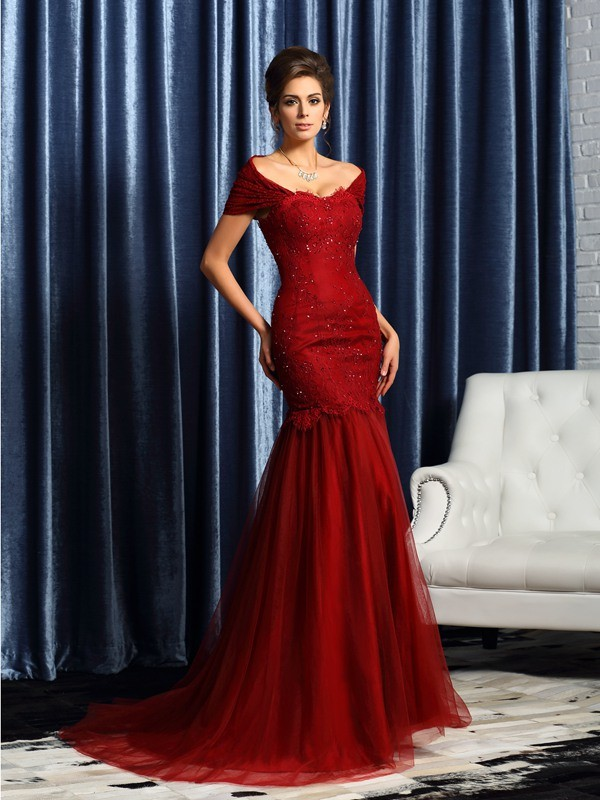 Chicregina Trumpet/Mermaid Short Sleeves Off-the-Shoulder Satin Beading Sweep/Brush Train Mother Of The Bride Dress with Pleats