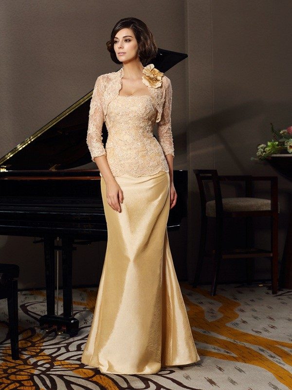 Chicregina Trumpet/Mermaid Sweetheart Floor-Length Taffeta Lace Mother Of The Bride Dress with Beading