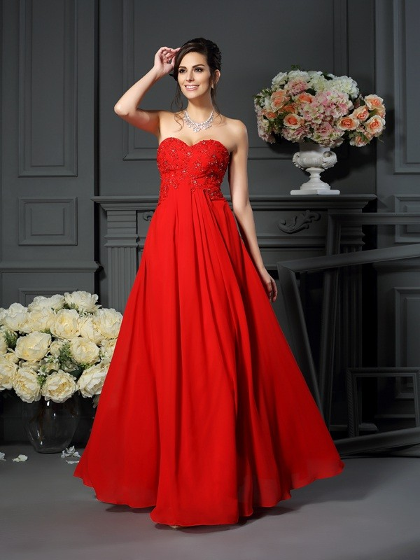 Chicregina A-Line/Princess Sweetheart Beading Floor-Length Chiffon Mother Of The Bride Dress with Applique