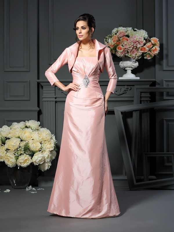 Chicregina A-Line/Princess Strapless Pleats Floor-Length Taffeta Mother Of The Bride Dress with Pleats
