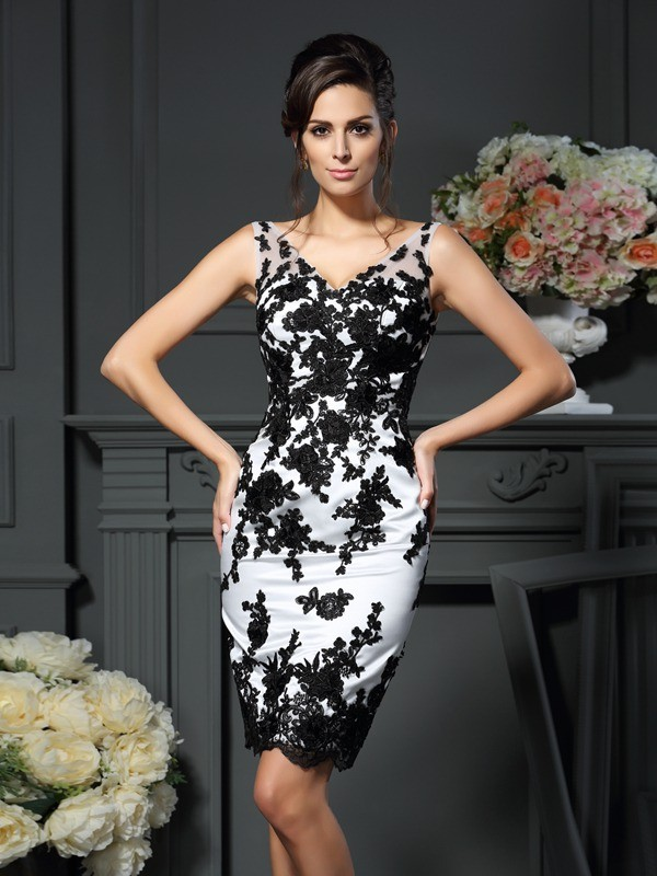 Chicregina Sheath/Column V-neck Applique Knee-Length Satin Mother Of The Bride Dress with Beading