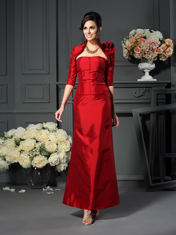 Chicregina A-Line/Princess Strapless Hand-Made Flower Ankle-Length Taffeta Mother Of The Bride Dress with Ruched