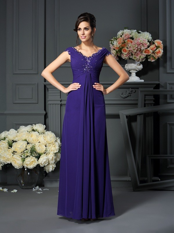 Chicregina A-Line/Princess V-neck Beading Floor-Length Chiffon Mother Of The Bride Dress with Lace