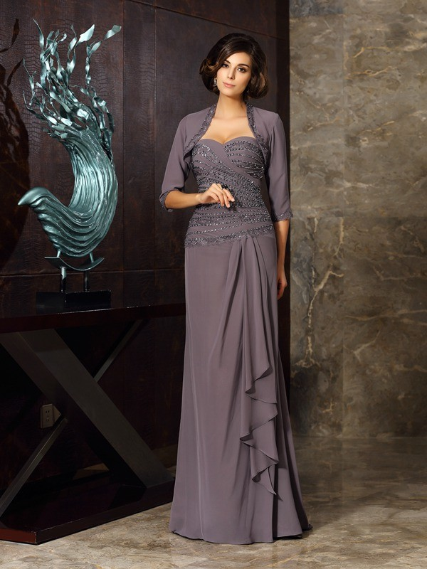 Chicregina Sheath/Column Chiffon Sweetheart Floor-Length Mother Of The Bride Dress with Pleats Applique