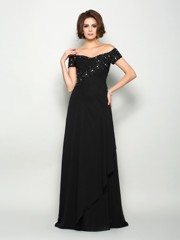 Chicregina A-Line/Princess Off-the-Shoulder Short Sleeves Chiffon Sweep/Brush Train Mother Of The Bride Dress with Sash Beading