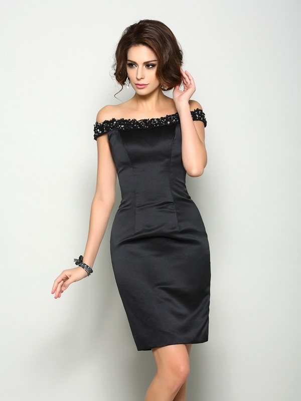 Chicregina Sheath/Column Off-the-Shoulder Satin Knee-Length Mother Of The Bride Dress with Beading