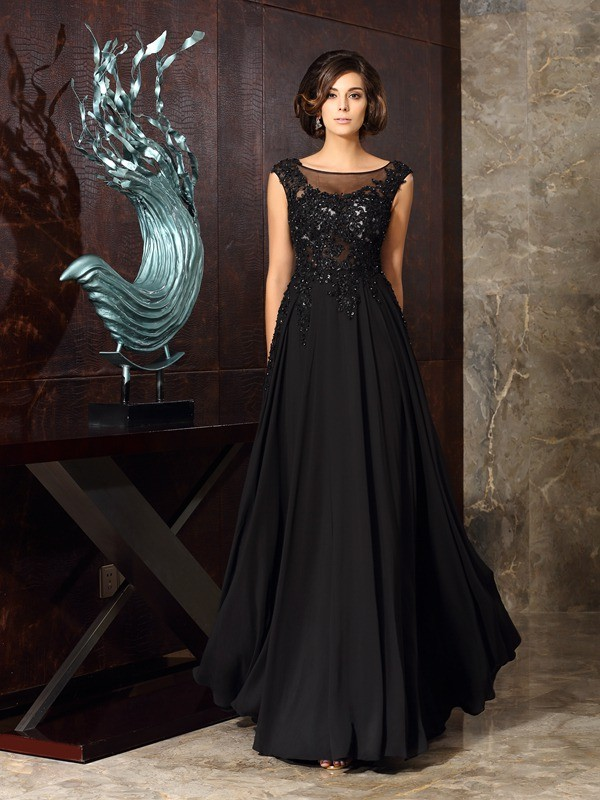 Chicregina A-Line/Princess Scoop Chiffon Floor-Length Mother Of The Bride Dress with Beading Applique