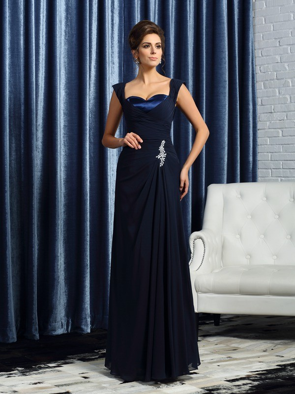 Chicregina A-Line/Princess Chiffon Straps Chiffon Floor-Length Mother Of The Bride Dress with Lace Beading
