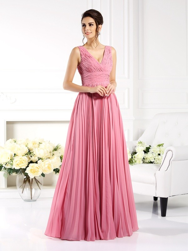 Chicregina Long A-Line/Princess Sweetheart Pleats Chiffon Dress with Applique