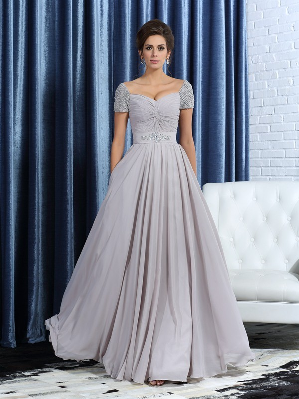 Chicregina A-Line/Princess Sweetheart Short Sleeves Ankle-Length Chiffon Mother Of The Bride Dress with Sash Beading