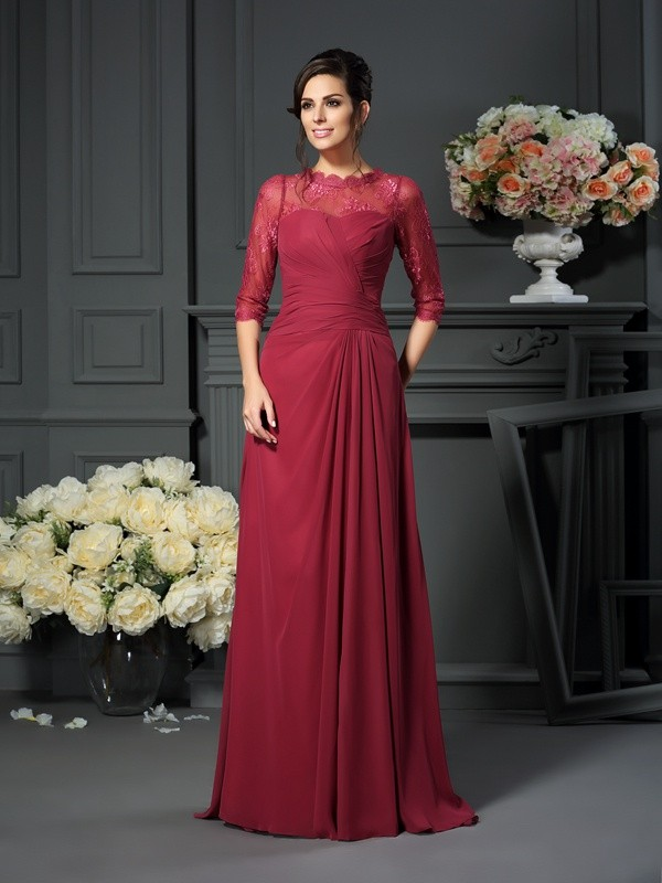 Chicregina A-Line/Princess Scoop 1/2 Sleeves Floor-Length Chiffon Mother Of The Bride Dress with Beading Applique