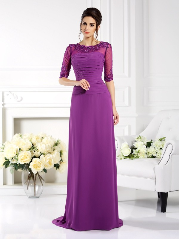 Chicregina Sheath/Column Scoop 1/2 Sleeves Applique Sweep/Brush Train Chiffon Dress with Rhinestone