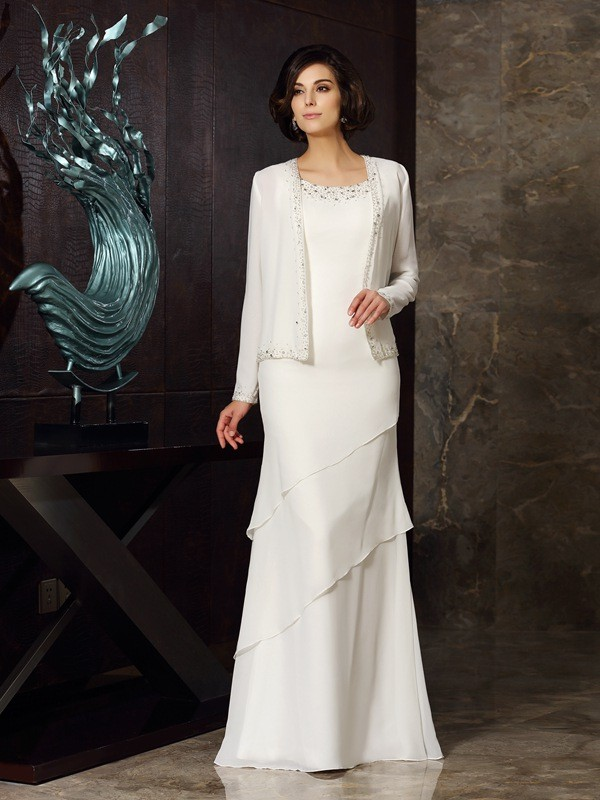 Chicregina Sheath/Column Scoop Chiffon Floor-Length Mother Of The Bride Dress with Ruffles Beading