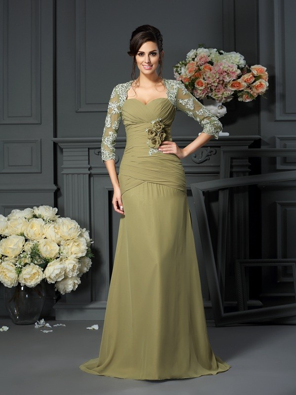 Chicregina A-Line/Princess Sweetheart 1/2 Sleeves Floor-Length Chiffon Mother Of The Bride Dress with Beading Hand-Made Flower