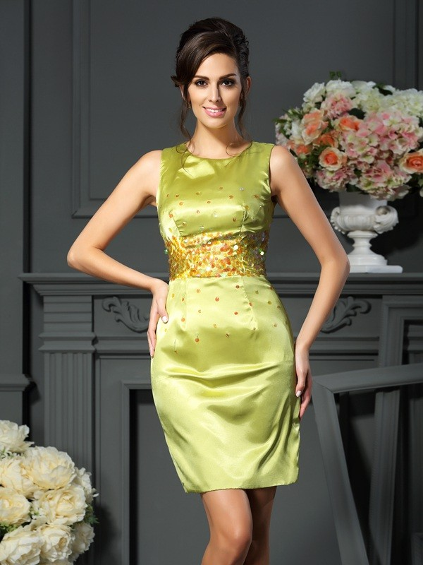 Chicregina Sheath/Column Scoop Short/Mini Silk like Satin Mother Of The Bride Dress with Lace Beading