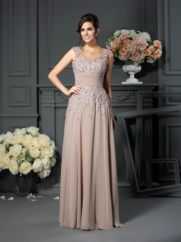 Chicregina A-Line/Princess Scoop Floor-Length Silk like Satin Mother Of The Bride Dress with Embroidery Beading