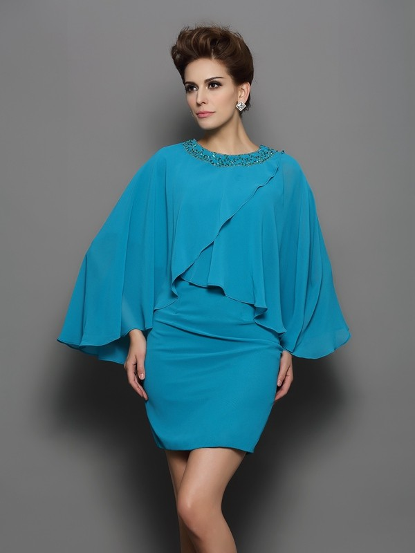 Chicregina Sheath/Column Scoop Long Sleeves Silk like Satin Short/Mini Dress with Pleats Beading