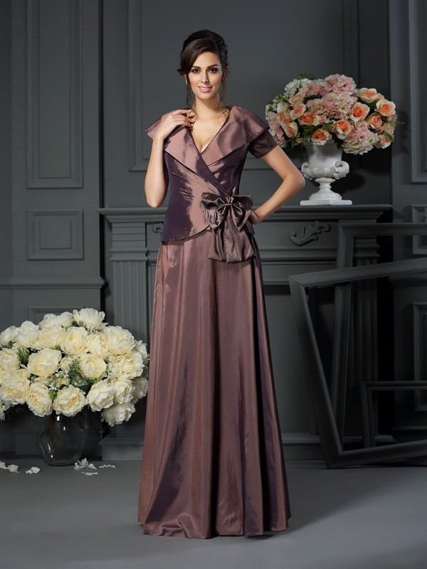 Chicregina A-Line/Princess V-neck Floor-Length Short Sleeves Taffeta Mother Of The Bride Dress with Ruffles Bowknot