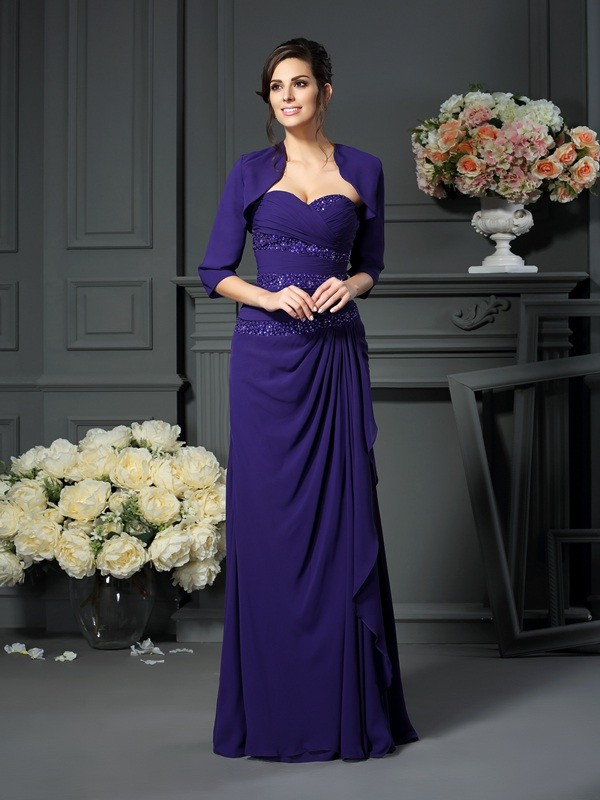 Chicregina A-Line/Princess Sweetheart Floor-Length Chiffon Mother Of The Bride Dress with Beading