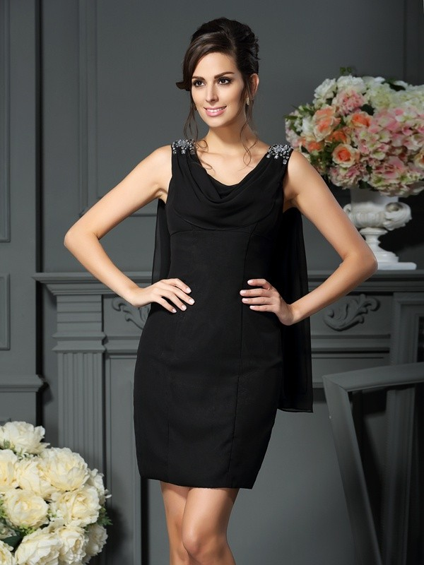 Chicregina Sheath/Column Scoop Short/Mini Chiffon Mother Of The Bride Dress with Rhinestone