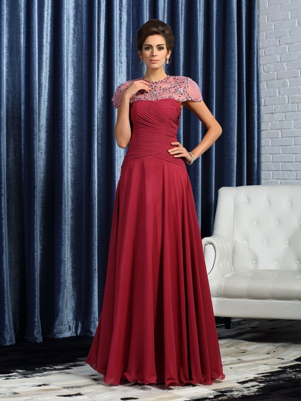 Chicregina A-Line/Princess Sweetheart Chiffon Ruched Floor-Length Mother Of The Bride Dress with Lace