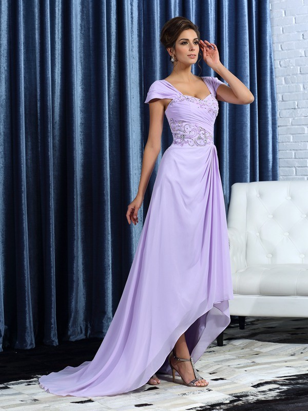 Chicregina A-Line/Princess Straps Chiffon Asymmetrical Mother Of The Bride Dress with Embroidery Beading