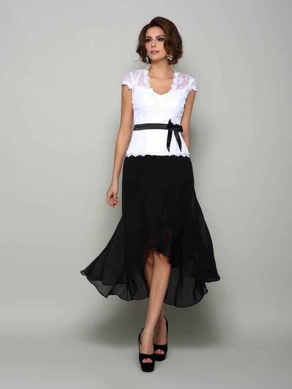 Chicregina A-Line/Princess Chiffon V-neck Asymmetrical Mother Of The Bride Dress with Pleats Sash
