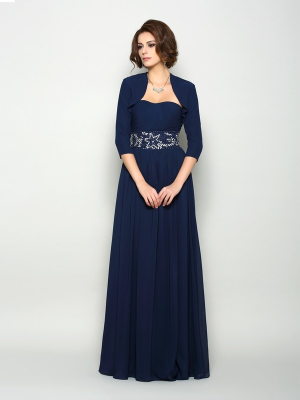 Chicregina A-Line/Princess Chiffon Sweetheart Floor-Length Mother Of The Bride Dress with Applique Beading