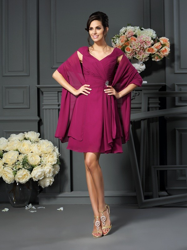 Chicregina A-Line/Princess V-neck Knee-Length Chiffon Mother Of The Bride Dress with Rhinestone Pleats