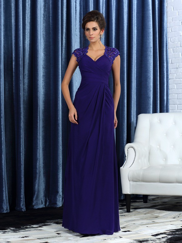 Chicregina Trumpet/Mermaid V-neck Floor-Length Chiffon Mother Of The Bride Dress with Lace
