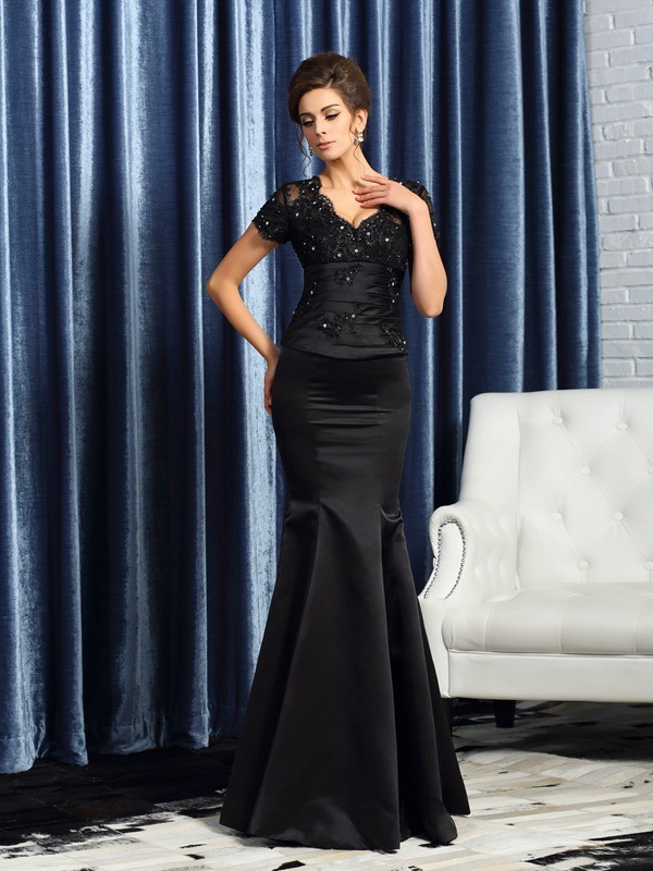 Chicregina Trumpet/Mermaid V-neck Short Sleeves Satin Floor-Length Mother Of The Bride Dress with Embroidery Applique