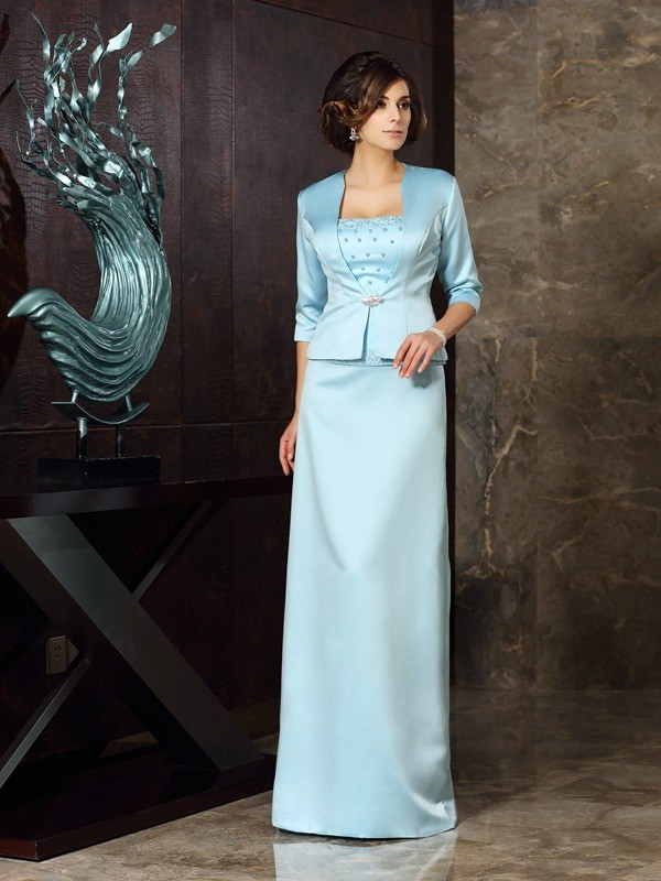 Chicregina Sheath/Column Satin Floor-Length Strapless Mother Of The Bride Dress with Pleats