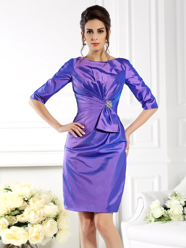Chicregina Sheath/Column Bateau 1/2 Sleeves Knee-Length Taffeta Mother Of The Bride Dress with Beading