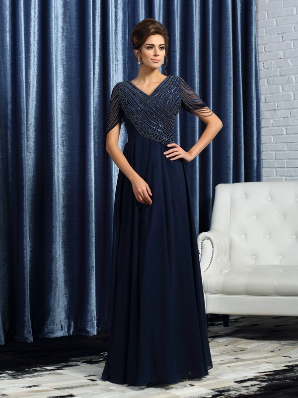 Chicregina A-Line/Princess V-neck Short Sleeves Floor-Length Chiffon Mother Of The Bride Dress with Embroidery