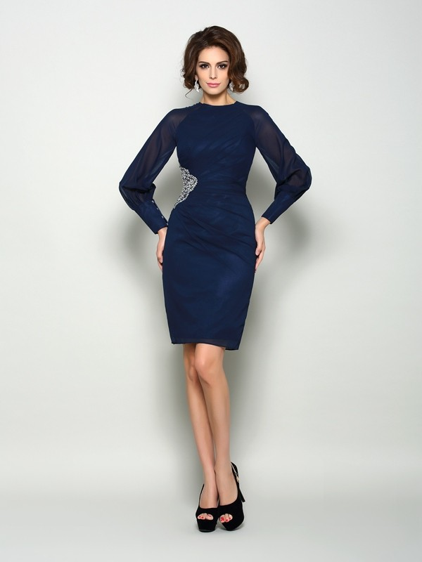 Chicregina Sheath/Column Long Sleeves High Neck Chiffon Knee-Length Mother Of The Bride Dress with Beading
