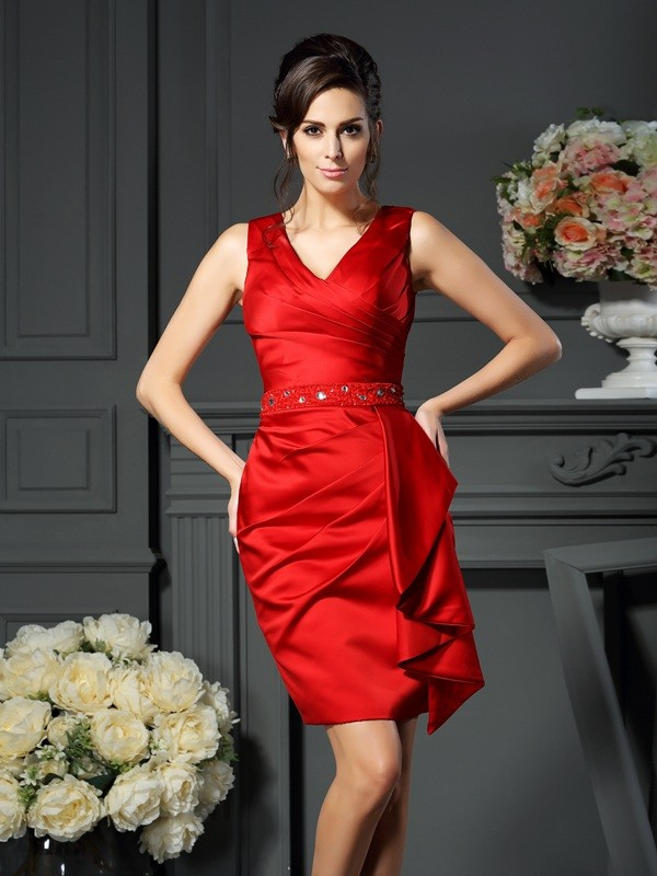 Chicregina Sheath/Column V-neck Knee-Length Satin Dress with Pleats Ruched