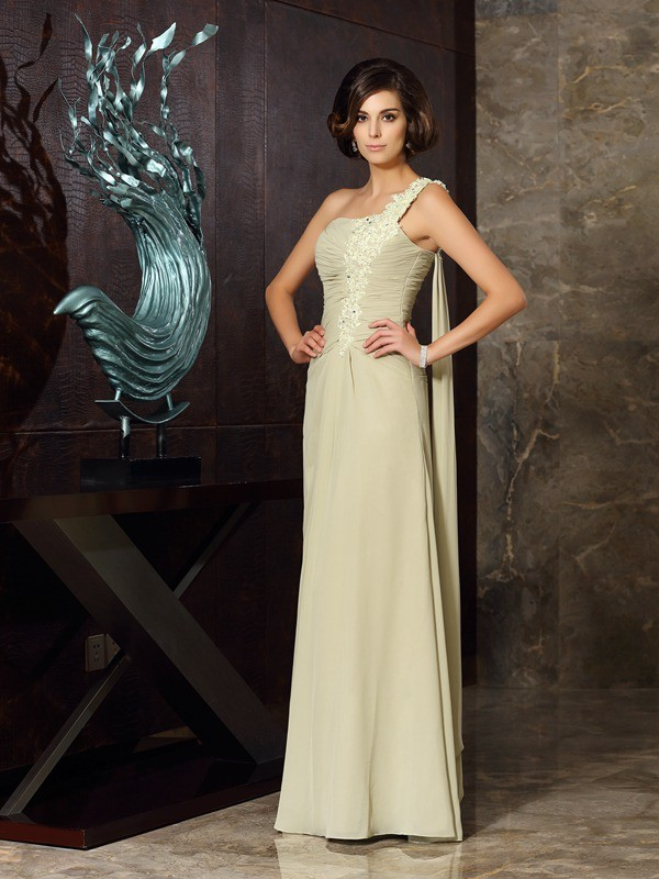 Chicregina A-Line/Princess One-Shoulder Floor-Length Chiffon Dress with Ruffles Applique