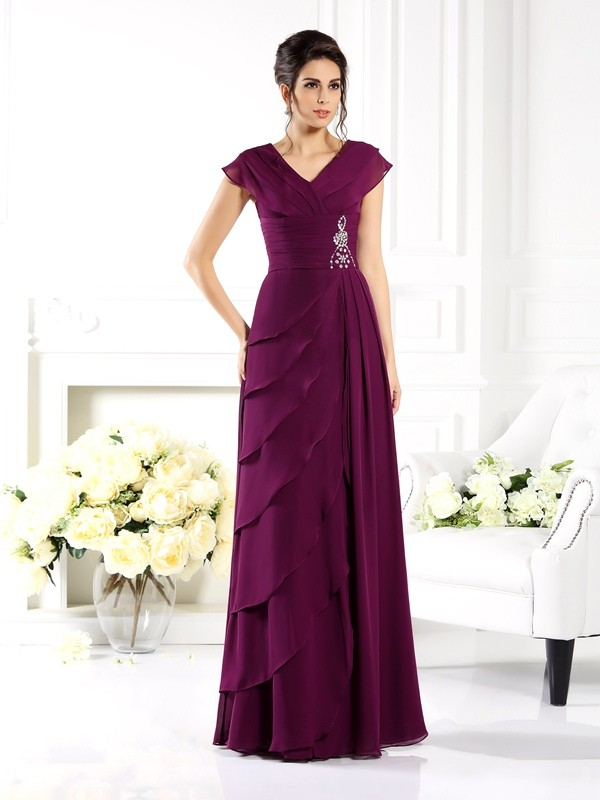 Chicregina A-Line/Princess V-neck Short Sleeves Floor-Length Chiffon Mother Of The Bride Dress with Beading