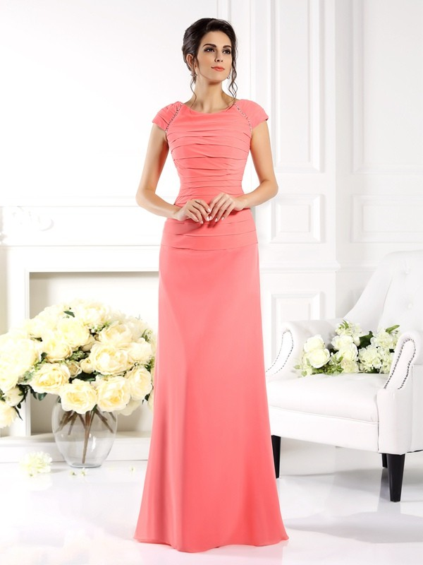 Chicregina A-Line/Princess Bateau Short Sleeves Floor-Length Chiffon Dress with Applique