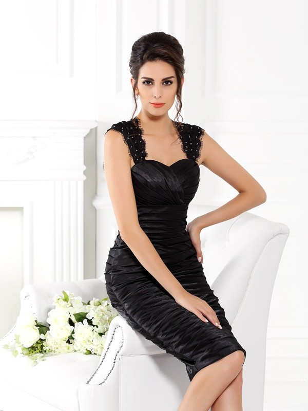 Chicregina Sheath/Column Straps Knee-Length Taffeta Dress with Ruched