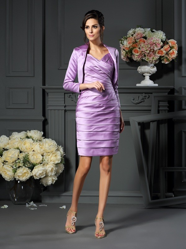 Chicregina Sheath/Column Straps Satin Knee-length Mother Of The Bride Dress with Lace Ruched
