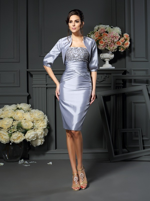 Chicregina Sheath/Column Sweetheart Knee-length Taffeta Mother Of The Bride Dress with Embroidery