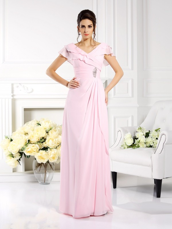 Chicregina A-Line/Princess V-neck Short Sleeves Floor-Length Chiffon Dress with Pleats Ruffles