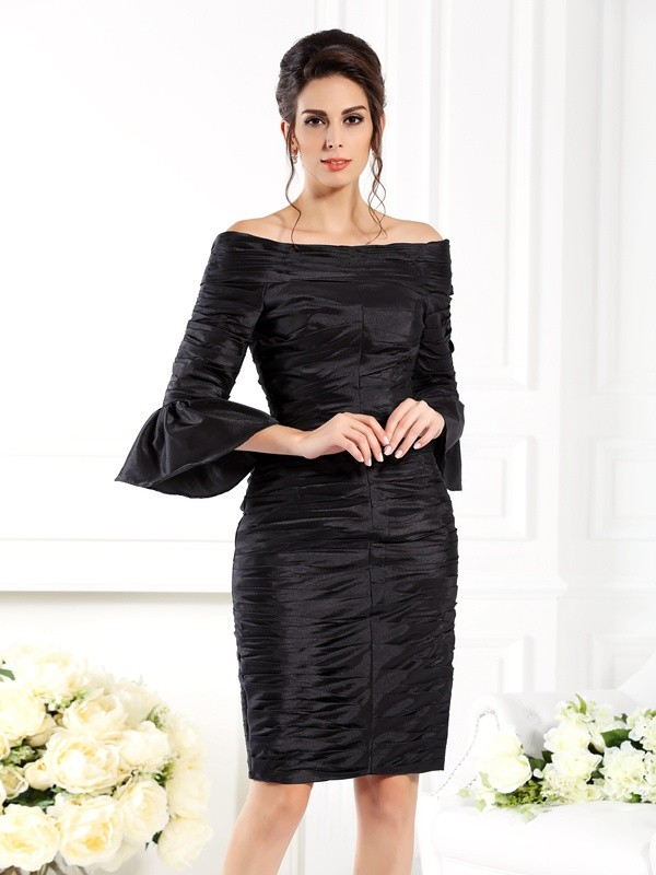Chicregina Sheath/Column Off-the-Shoulder 1/2 Sleeves Short/Mini Taffeta Dress with Beading Ruched