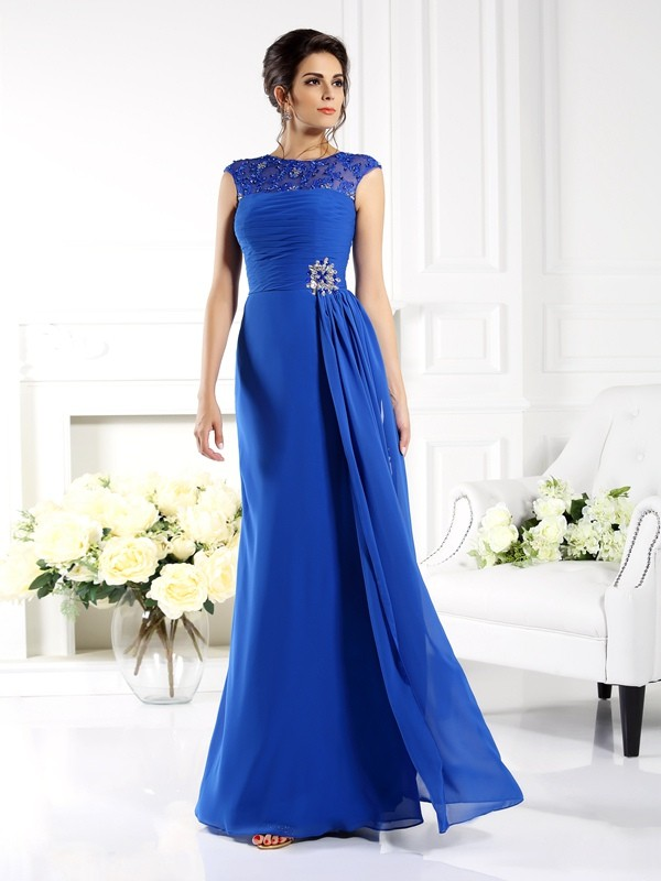 Chicregina A-Line/Princess Bateau Applique Floor-Length Chiffon Dress with Ruched