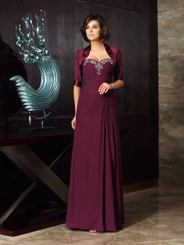 Chicregina Sheath/Column Sweetheart Chiffon Floor-Length Mother Of The Bride Dress with Lace Beading