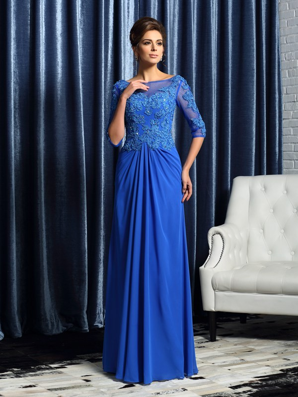 Chicregina A-Line/Princess 1/2 Sleeves Bateau Floor-Length Chiffon Mother Of The Bride Dress with Embroidery Beading